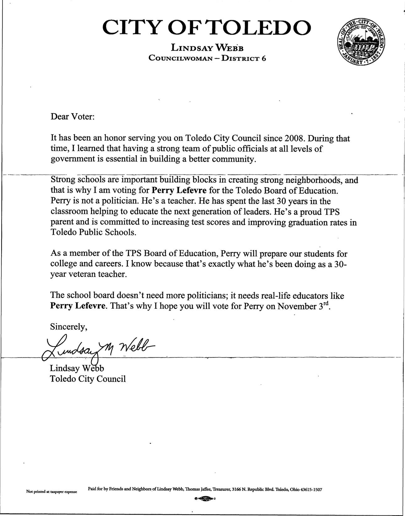 Lindsay Webb letter